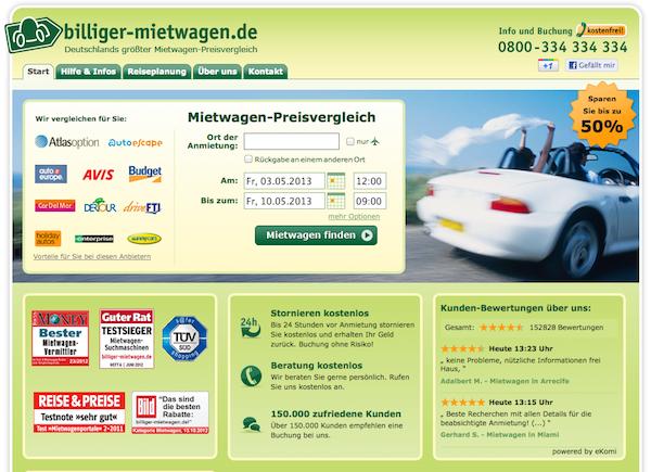 Der einfache Mietwagen Preisvergleich im Internet