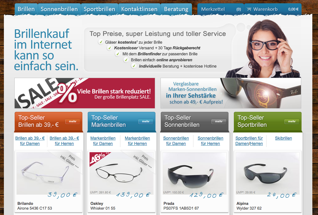 günstige Designer Sonnebrillen sowie Brillen online kaufen