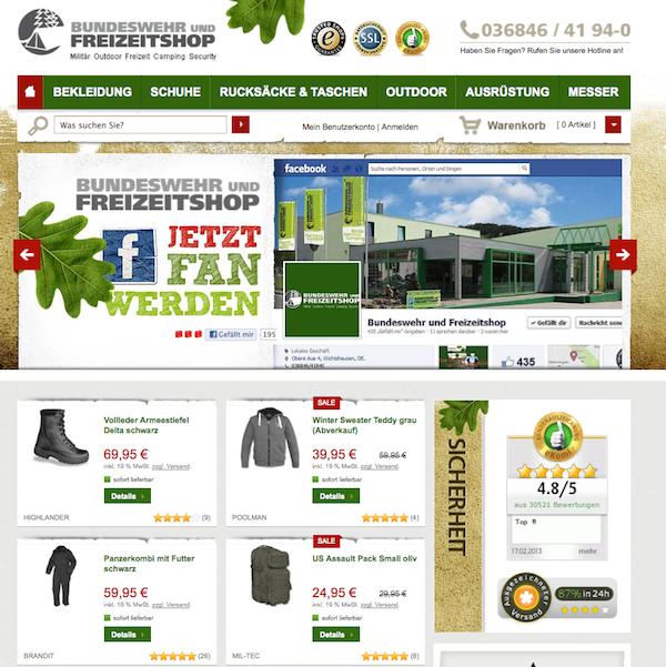 Bundeswehr und Freizeitshop - Militär, Freizeit, und Camping Online Shop