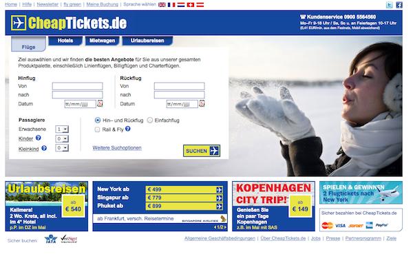 CheapTickets - Flug und Urlaub Online buchen