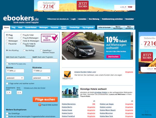 eBookers - Flüge und Reisen Online buchen