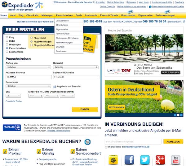 Expedia - Urlaub und Flüge Online buchen