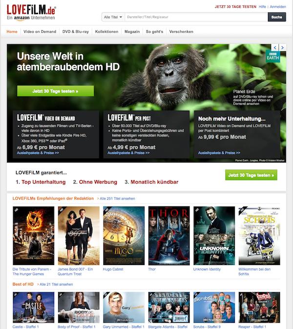 Lovefilm - Online Videothek