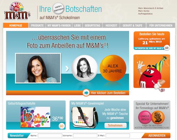 M&Ms - Schokolinsen und Geschenke Online Shop
