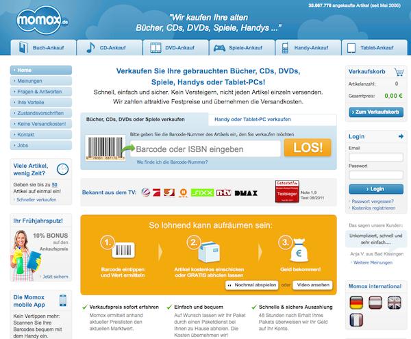 Momox - Medien online verkaufen