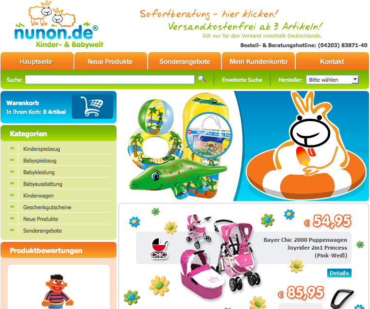 günstige Kinderausstattung und Babyausstattung bei Nunon.de