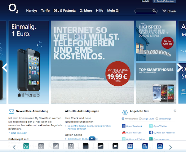 O2 - Internet und Handytarife Online Shop