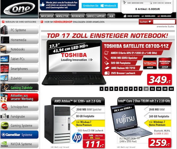 One - PC und Notebook Online Shop