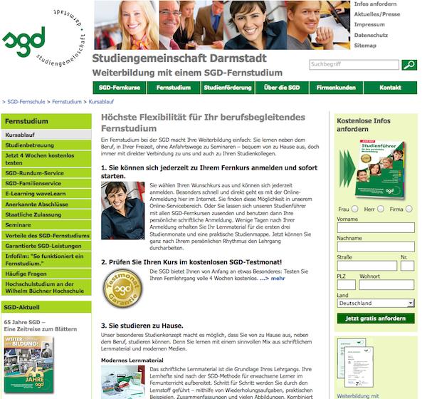 SGD - Fernstudium Online Anmeldung