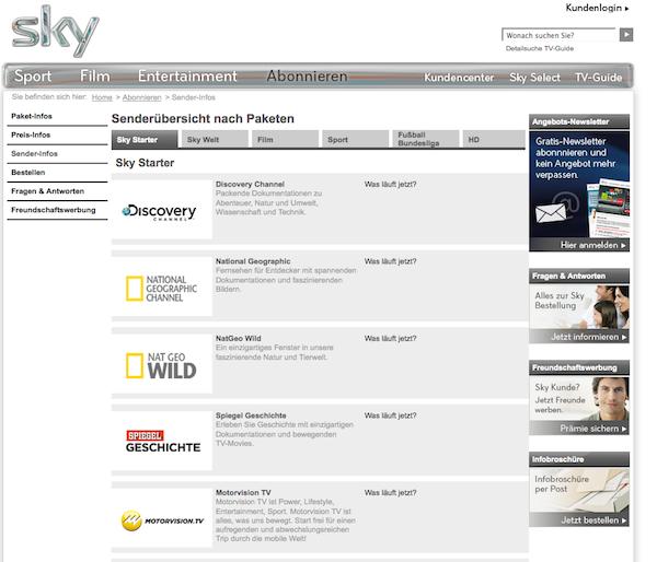 Sky - Fernsehprogramm online abonnieren