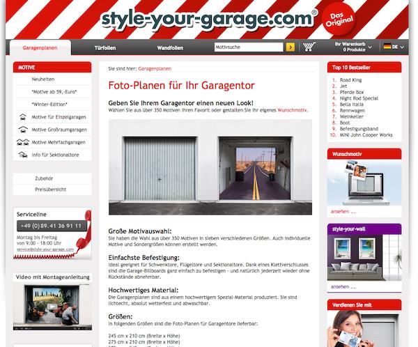 Style-your-garage - Foto-Planen Online Shop