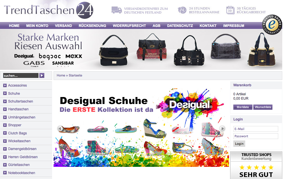 Taschen, Schuhe und Accessoires online kaufen bei trendtaschen24.de