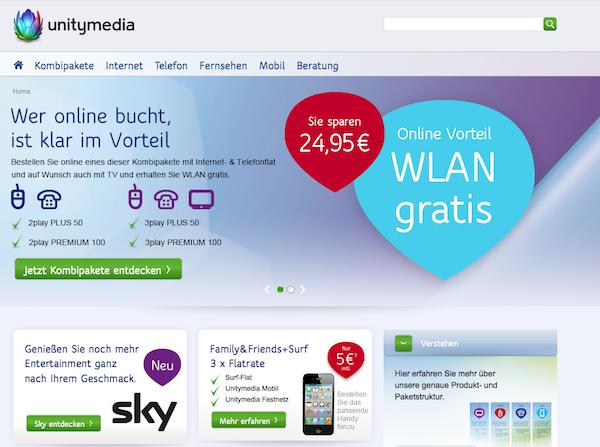 Unitymedia Internet, TV & Telefon online bestellen
