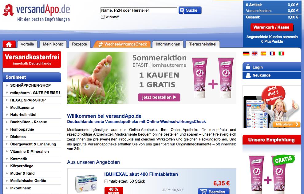 rezeptfreie Medikamente und Kosmetik günstig online kaufen